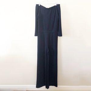 Yoana Baraschi Navy Textured Wide Leg Jumpsuit